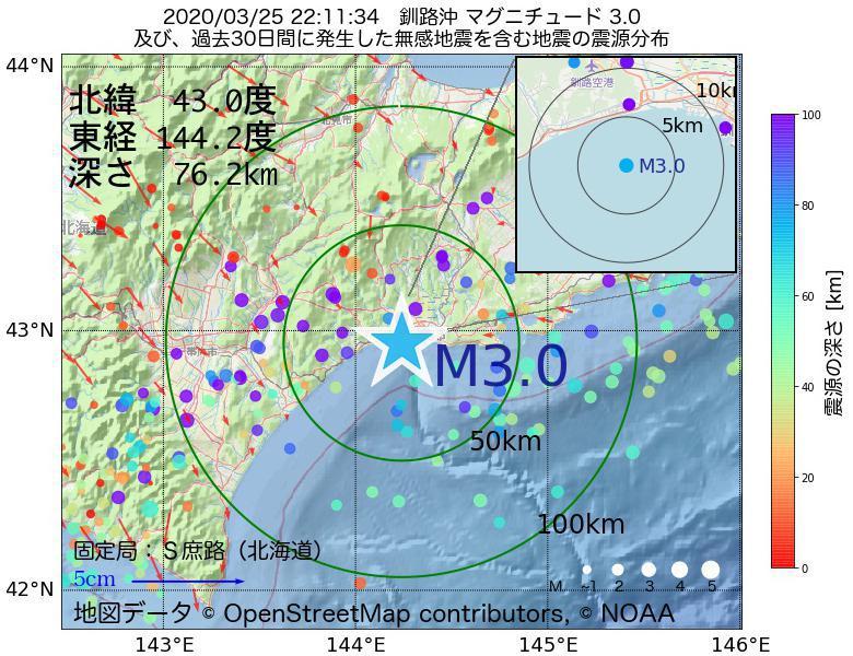 地震震源マップ:2020年03月25日 22時11分 釧路沖でM3.0の地震