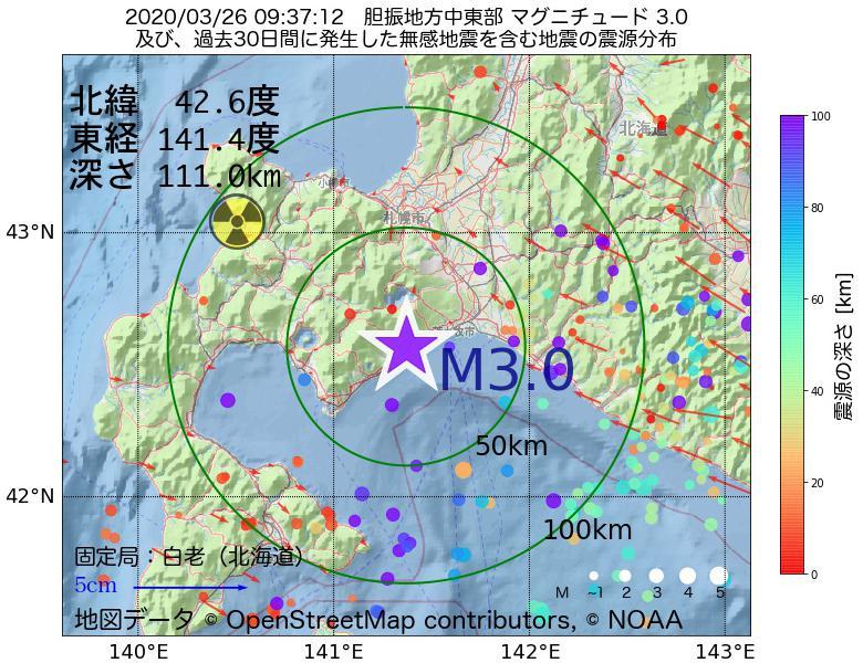 地震震源マップ:2020年03月26日 09時37分 胆振地方中東部でM3.0の地震