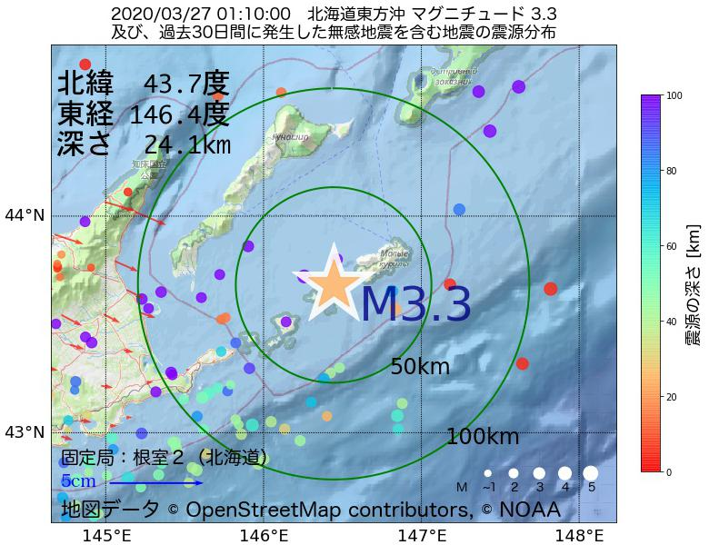 地震震源マップ:2020年03月27日 01時10分 北海道東方沖でM3.3の地震