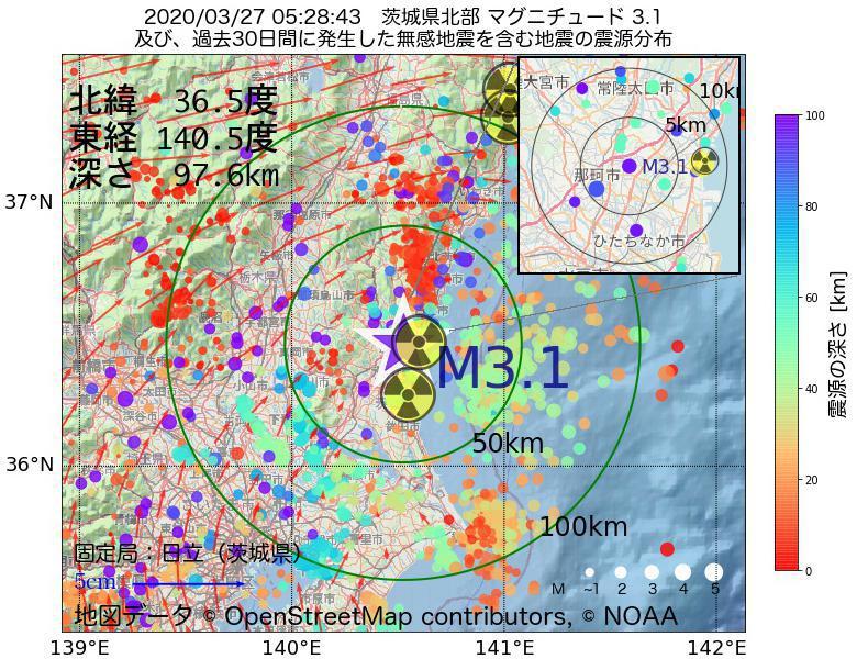 地震震源マップ:2020年03月27日 05時28分 茨城県北部でM3.1の地震