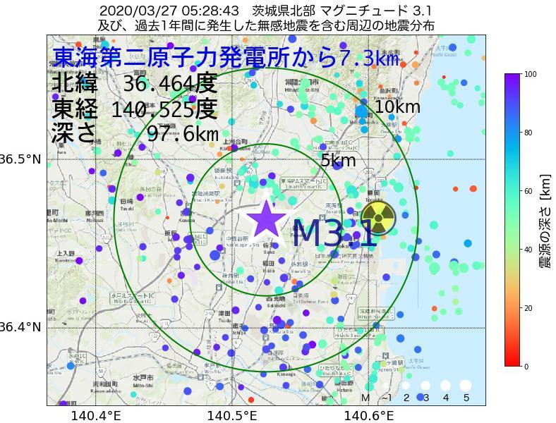 地震震源マップ:東海第二原子力発電所から7.3km地点でM3.1の地震が発生しました