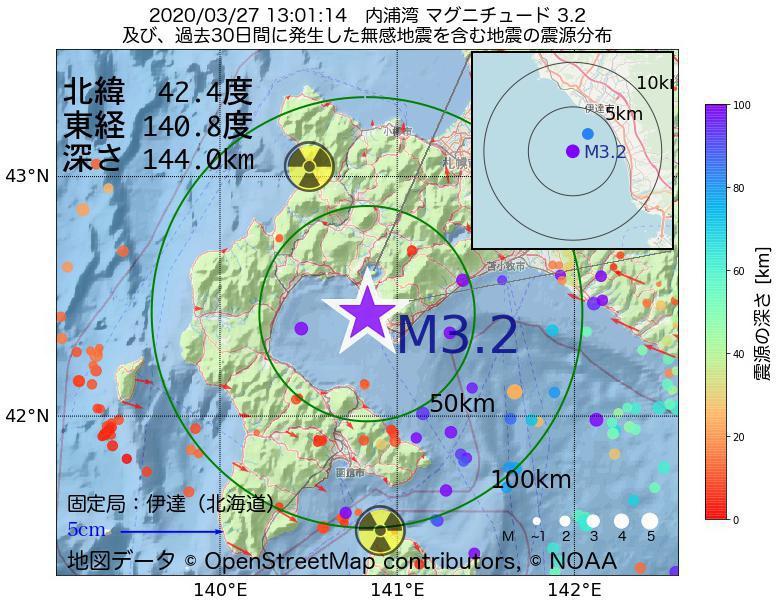 地震震源マップ:2020年03月27日 13時01分 内浦湾でM3.2の地震