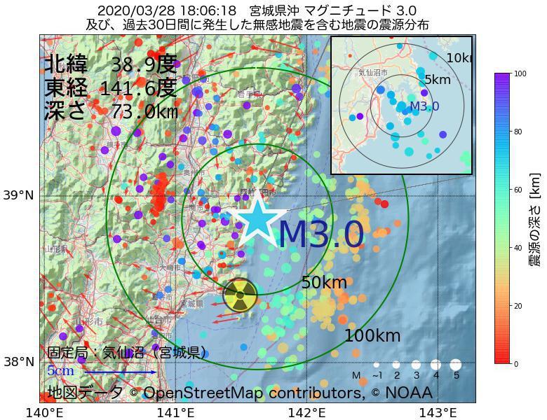 地震震源マップ:2020年03月28日 18時06分 宮城県沖でM3.0の地震