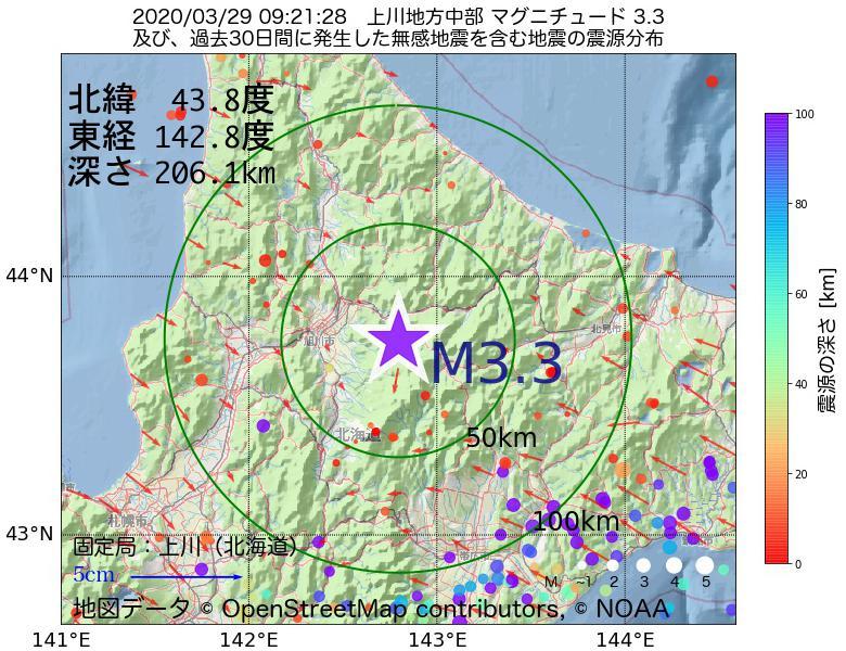 地震震源マップ:2020年03月29日 09時21分 上川地方中部でM3.3の地震
