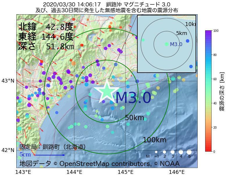 地震震源マップ:2020年03月30日 14時06分 釧路沖でM3.0の地震