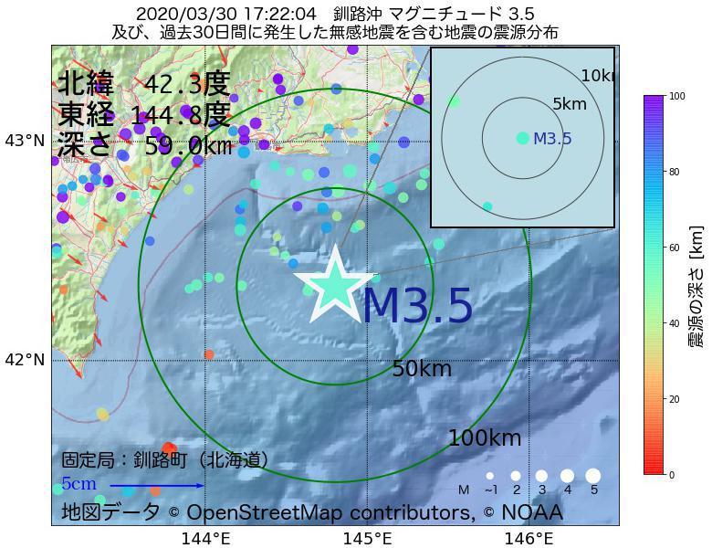地震震源マップ:2020年03月30日 17時22分 釧路沖でM3.5の地震