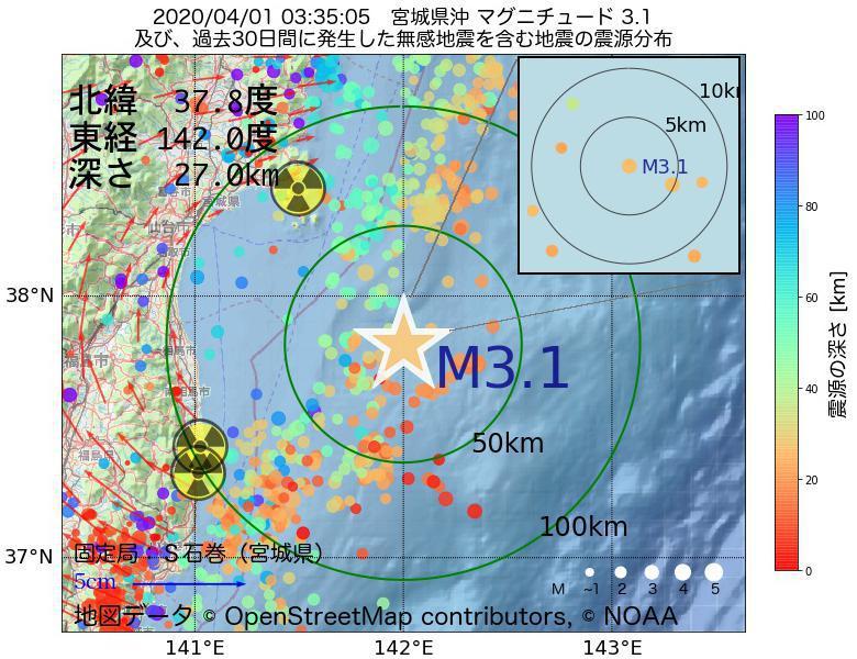 地震震源マップ:2020年04月01日 03時35分 宮城県沖でM3.1の地震