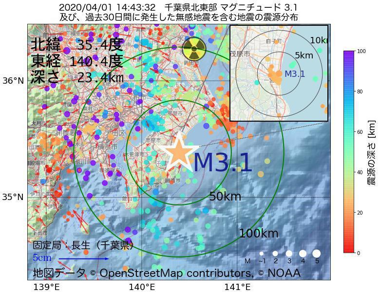 地震震源マップ:2020年04月01日 14時43分 千葉県北東部でM3.1の地震
