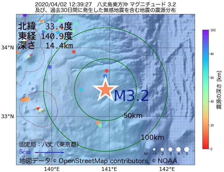 地震震源マップ:2020年04月02日 12時39分 八丈島東方沖でM3.2の地震