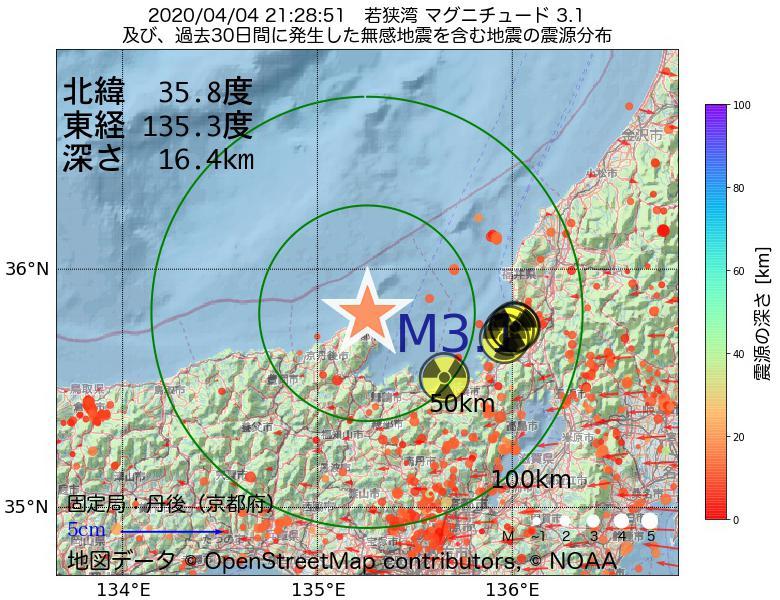 地震震源マップ:2020年04月04日 21時28分 若狭湾でM3.1の地震