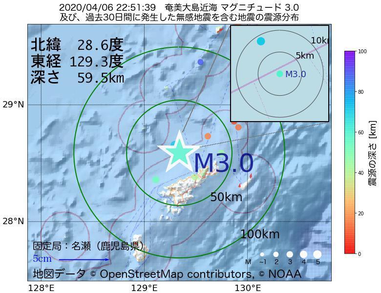 地震震源マップ:2020年04月06日 22時51分 奄美大島近海でM3.0の地震