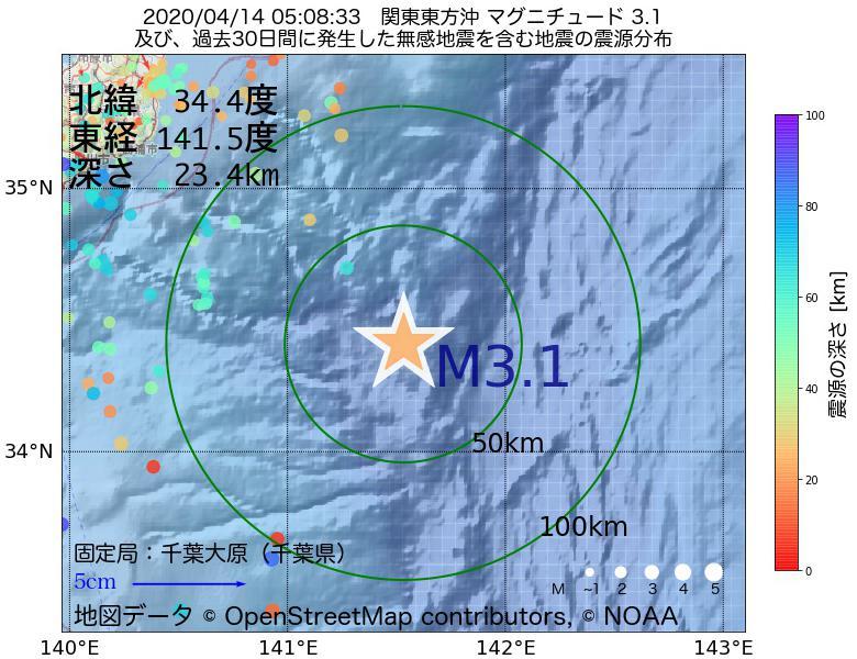 地震震源マップ:2020年04月14日 05時08分 関東東方沖でM3.1の地震