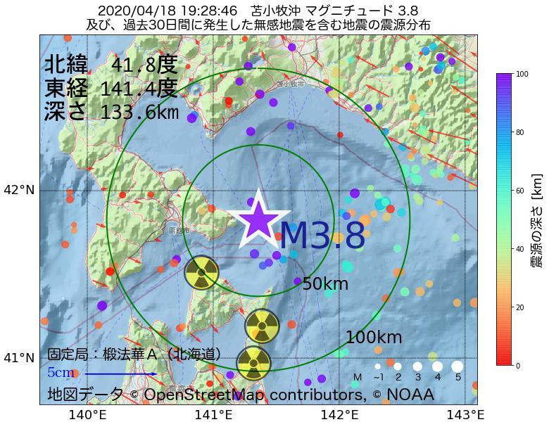 地震震源マップ:2020年04月18日 19時28分 苫小牧沖でM3.8の地震