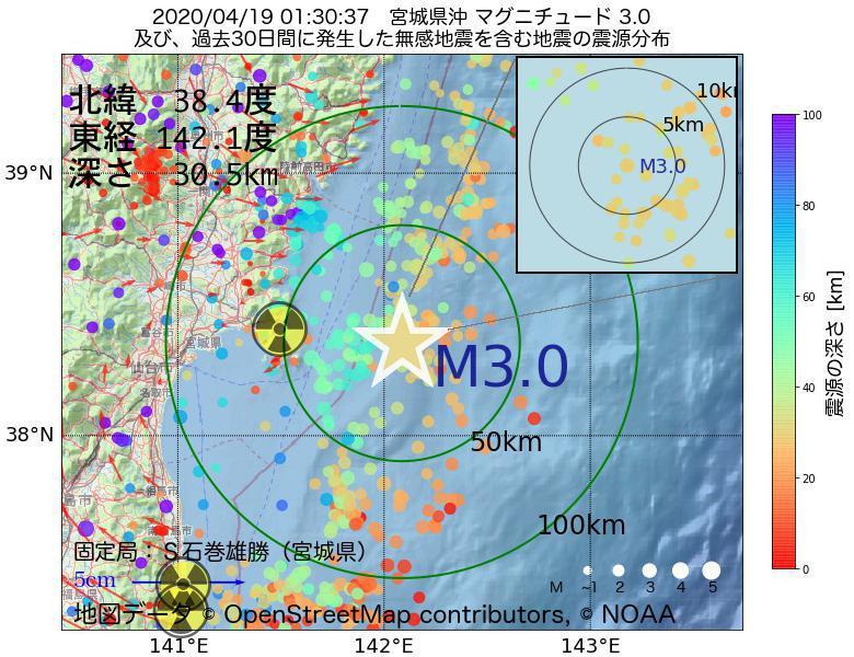 地震震源マップ:2020年04月19日 01時30分 宮城県沖でM3.0の地震