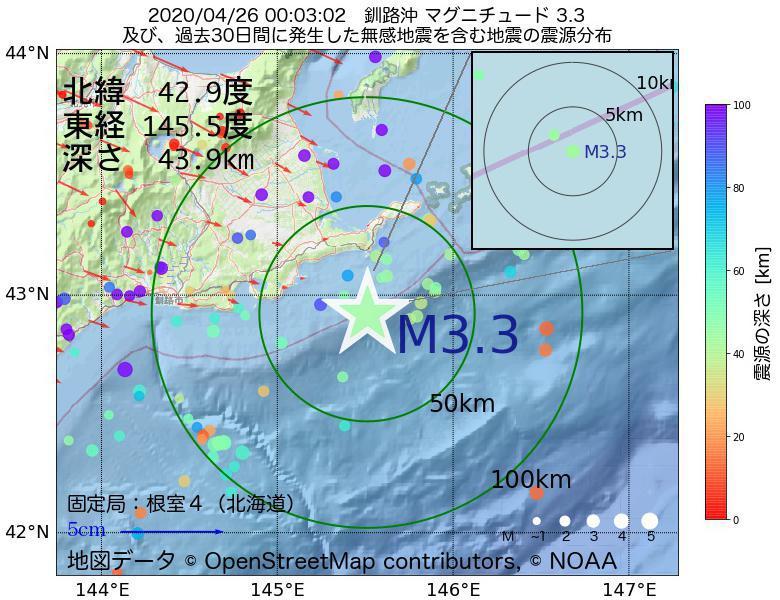 地震震源マップ:2020年04月26日 00時03分 釧路沖でM3.3の地震