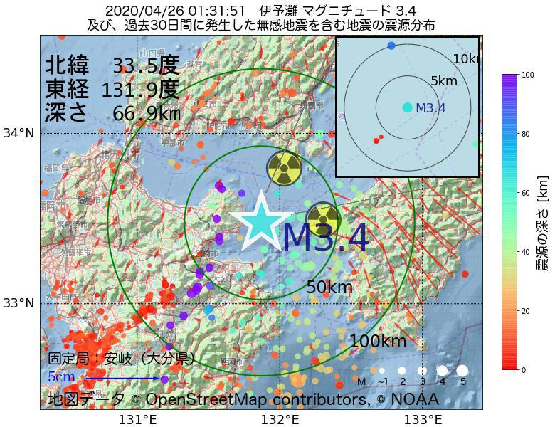 地震震源マップ:2020年04月26日 01時31分 伊予灘でM3.4の地震