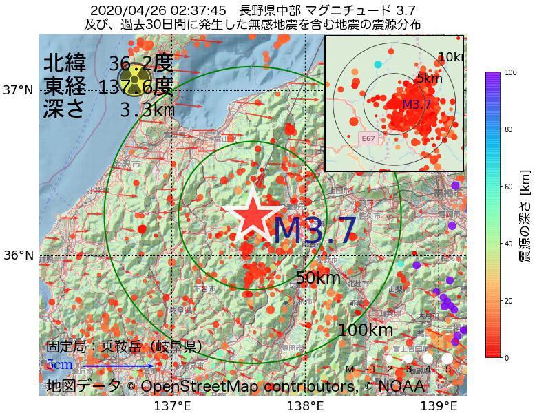 地震震源マップ:2020年04月26日 02時37分 長野県中部でM3.7の地震