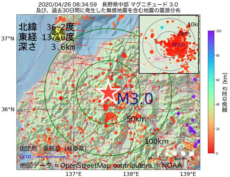 地震震源マップ:2020年04月26日 08時34分 長野県中部でM3.0の地震