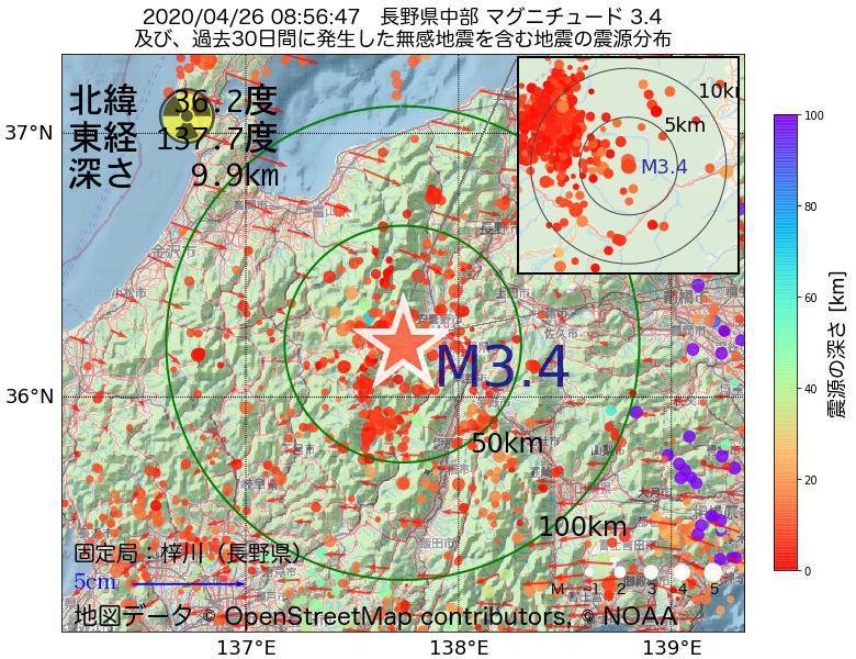 地震震源マップ:2020年04月26日 08時56分 長野県中部でM3.4の地震