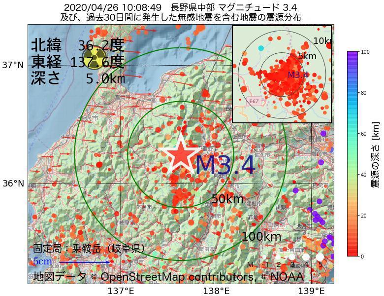 地震震源マップ:2020年04月26日 10時08分 長野県中部でM3.4の地震