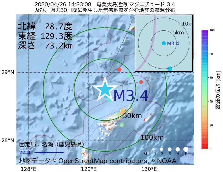 地震震源マップ:2020年04月26日 14時23分 奄美大島近海でM3.4の地震