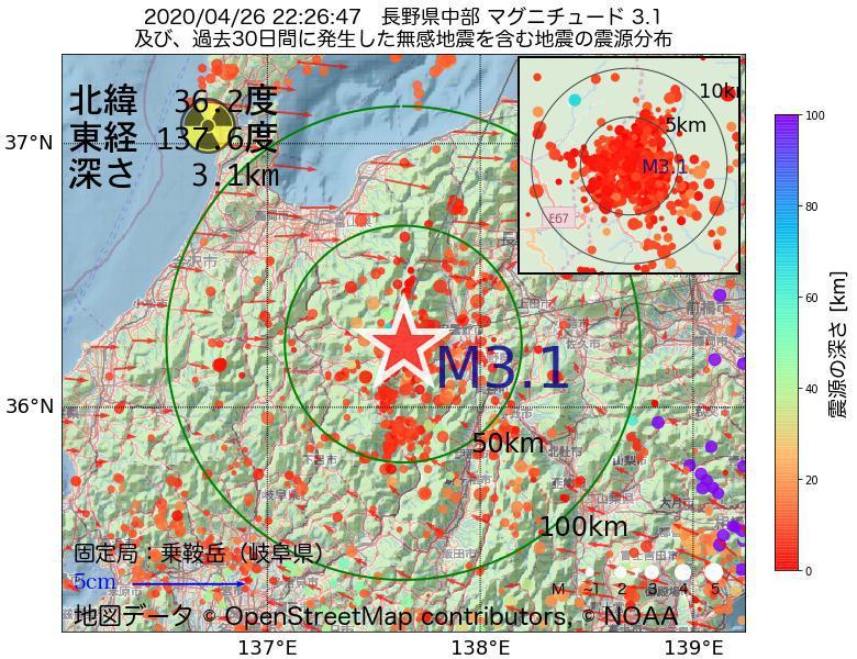地震震源マップ:2020年04月26日 22時26分 長野県中部でM3.1の地震