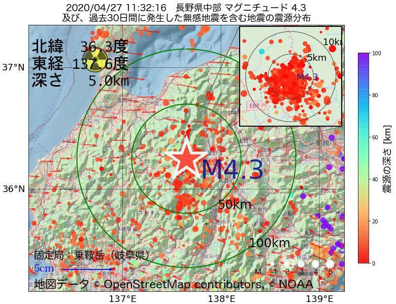地震震源マップ:2020年04月27日 11時32分 長野県中部でM4.3の地震