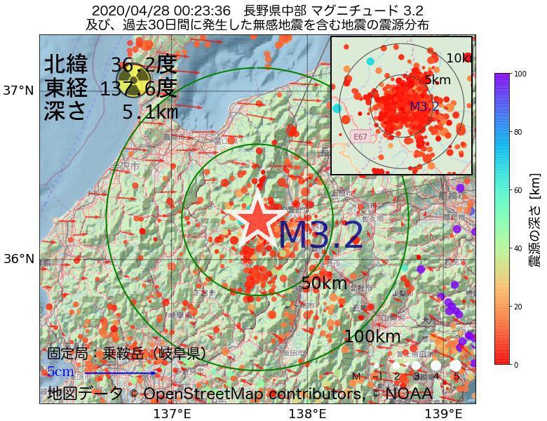 地震震源マップ:2020年04月28日 00時23分 長野県中部でM3.2の地震
