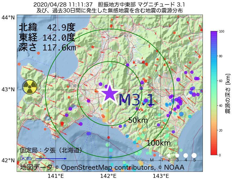 地震震源マップ:2020年04月28日 11時11分 胆振地方中東部でM3.1の地震