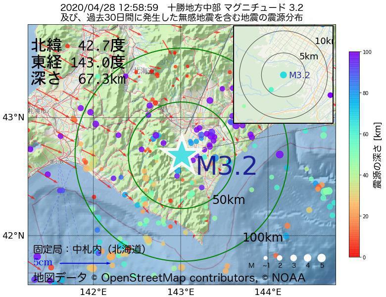 地震震源マップ:2020年04月28日 12時58分 十勝地方中部でM3.2の地震