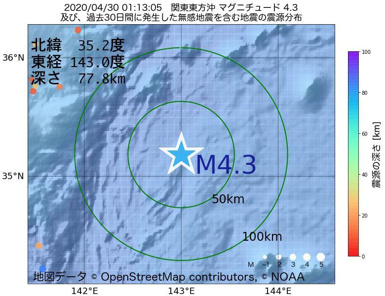 地震震源マップ:2020年04月30日 01時13分 関東東方沖でM4.3の地震