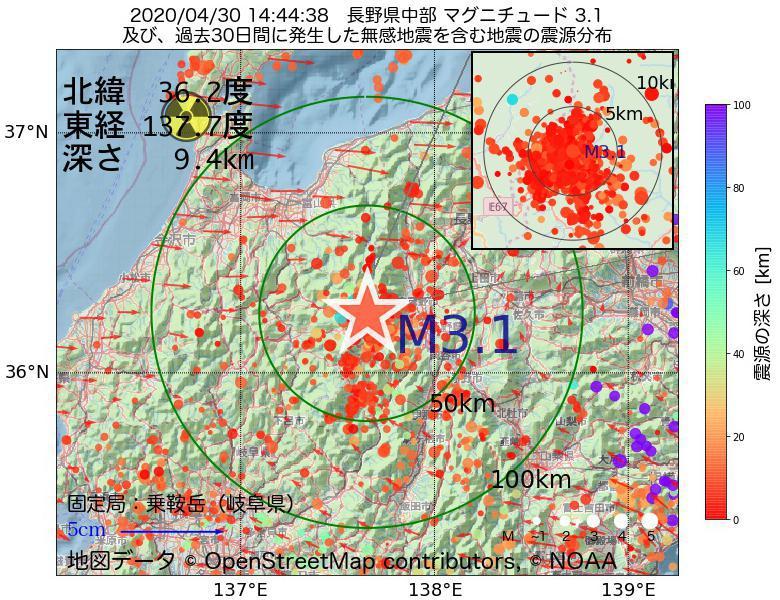 地震震源マップ:2020年04月30日 14時44分 長野県中部でM3.1の地震