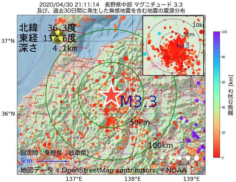 地震震源マップ:2020年04月30日 21時11分 長野県中部でM3.3の地震