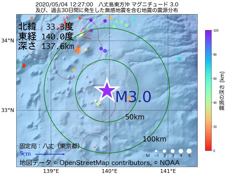地震震源マップ:2020年05月04日 12時27分 八丈島東方沖でM3.0の地震