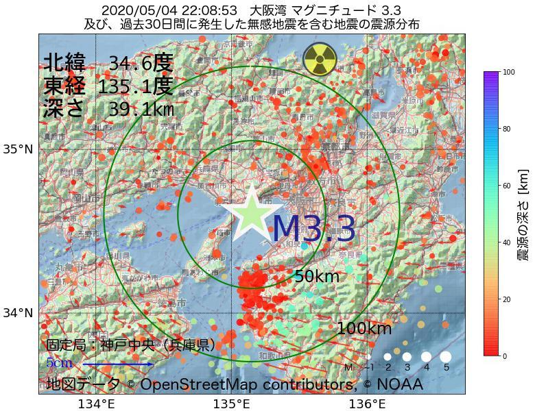 地震震源マップ:2020年05月04日 22時08分 大阪湾でM3.3の地震