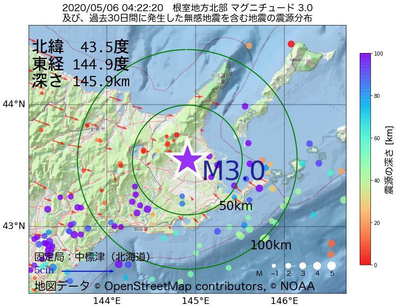 地震震源マップ:2020年05月06日 04時22分 根室地方北部でM3.0の地震
