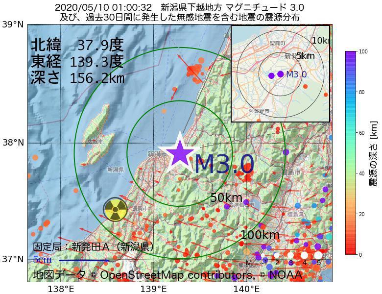 地震震源マップ:2020年05月10日 01時00分 新潟県下越地方でM3.0の地震