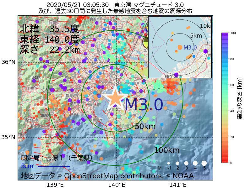 地震震源マップ:2020年05月21日 03時05分 東京湾でM3.0の地震
