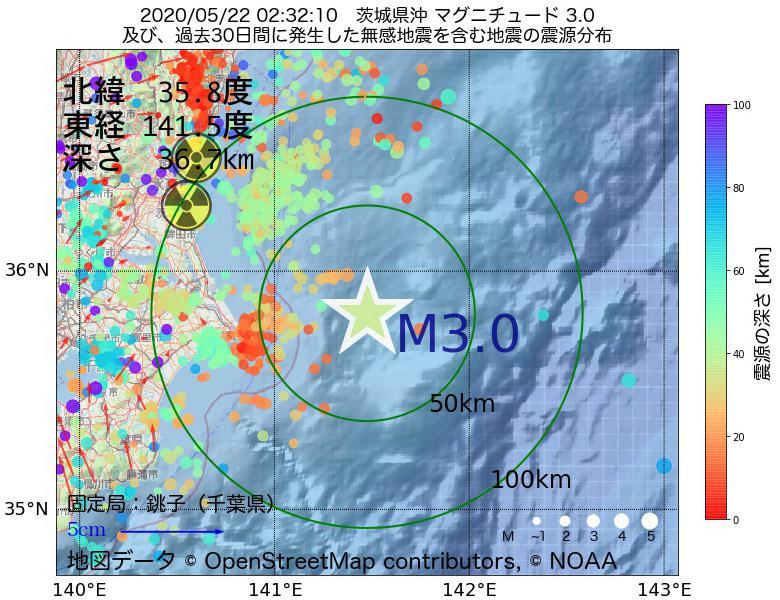 地震震源マップ:2020年05月22日 02時32分 茨城県沖でM3.0の地震