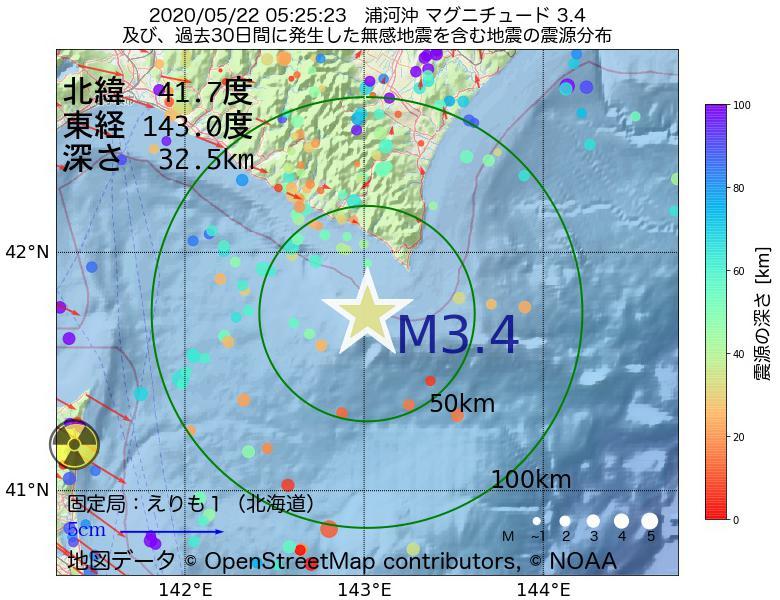 地震震源マップ:2020年05月22日 05時25分 浦河沖でM3.4の地震