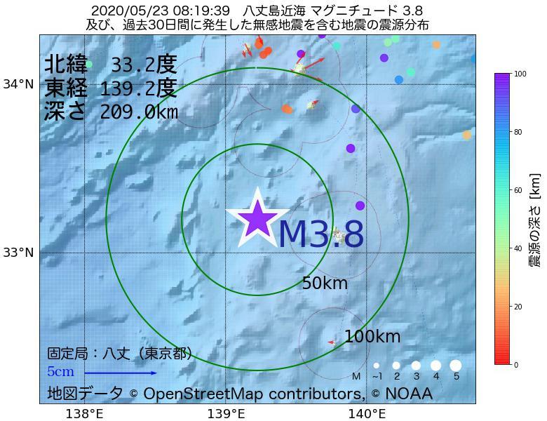 地震震源マップ:2020年05月23日 08時19分 八丈島近海でM3.8の地震