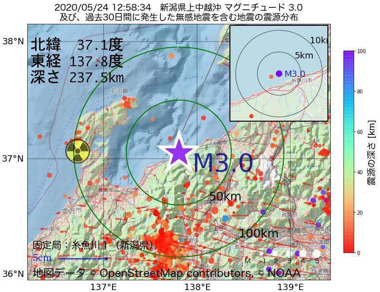 地震震源マップ:2020年05月24日 12時58分 新潟県上中越沖でM3.0の地震