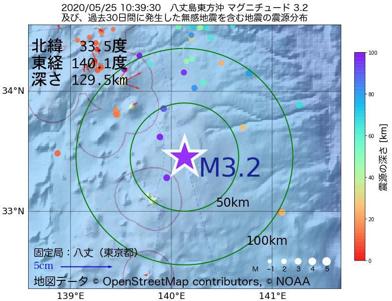 地震震源マップ:2020年05月25日 10時39分 八丈島東方沖でM3.2の地震