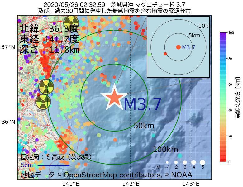地震震源マップ:2020年05月26日 02時32分 茨城県沖でM3.7の地震