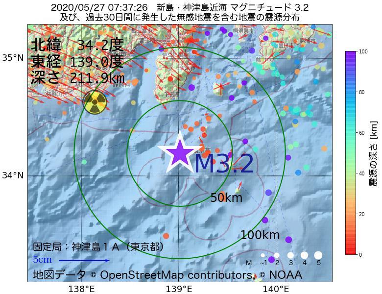 地震震源マップ:2020年05月27日 07時37分 新島・神津島近海でM3.2の地震