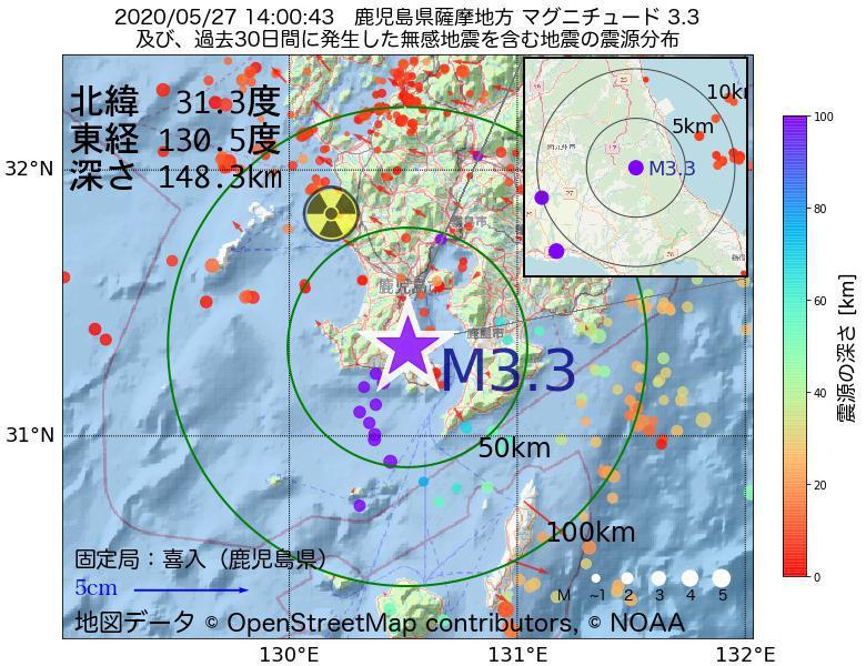 地震震源マップ:2020年05月27日 14時00分 鹿児島県薩摩地方でM3.3の地震