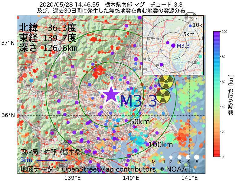 地震震源マップ:2020年05月28日 14時46分 栃木県南部でM3.3の地震