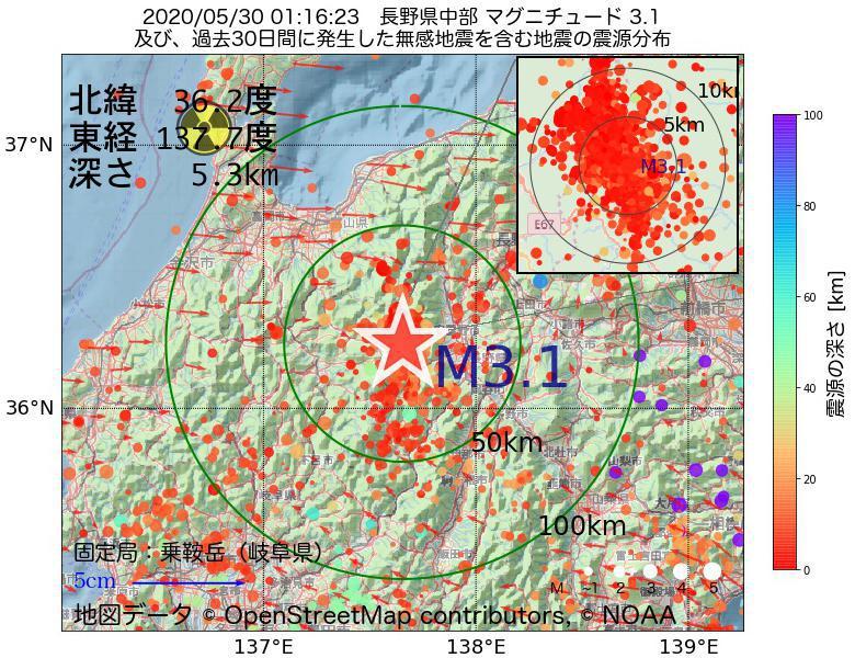 地震震源マップ:2020年05月30日 01時16分 長野県中部でM3.1の地震