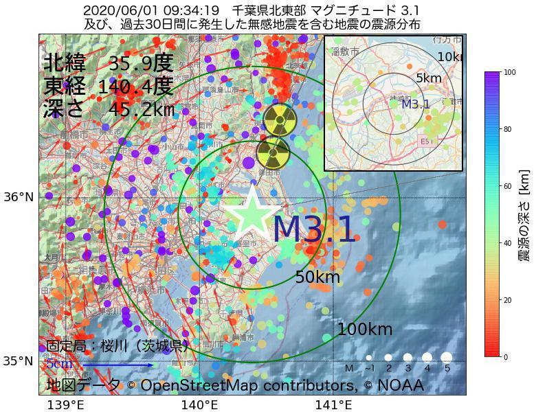 地震震源マップ:2020年06月01日 09時34分 千葉県北東部でM3.1の地震