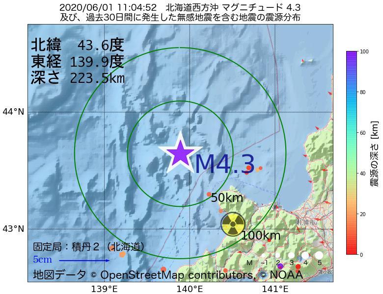 地震震源マップ:2020年06月01日 11時04分 北海道西方沖でM4.3の地震